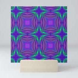 Purple and Green Star Pattern Mini Art Print