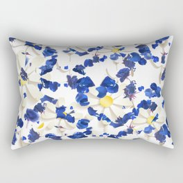 white daisies and blue cyclamens floral pattern Rectangular Pillow