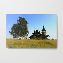 Wooden Church, Merkushino, Russia Metal Print