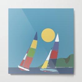 Sails below the coast Metal Print