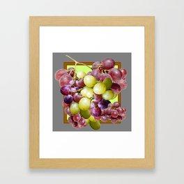 DECORATIVE PURPLE & GREEN GRAPE CLUSTER DESIGN Framed Art Print