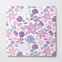 Purple and pink Japanese pond foral Metal Print
