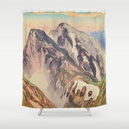 Hakuba Mountain Hiroshi Yoshida Vintage Japanese Woodblock Print Shower Curtain