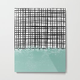 Mila - Grid and mint -  paint, art, artist cell phone case, grid phone case Metal Print