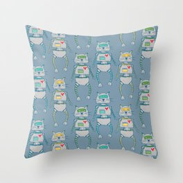 The Cat-Bot Trio Throw Pillow