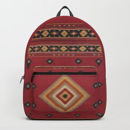 (N14) Red Anthropologie Oriental Moroccan Traditional Artwork. Backpack