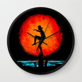 Minimalist Karate Kid Tribute Painting Wall Clock