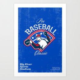 Pro Baseball Classic Tournament Retro Poster Art Print