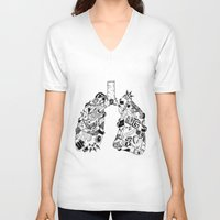lungs V-neck T-shirts featuring LUNGS by AA / Anaïs Dedit