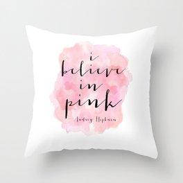 I Believe In Pink, Nursery Girls,Girls Room Decor,Gift For Her,Girly Svg,Hot Pink,Scandinavian Print Throw Pillow