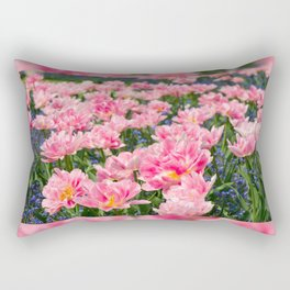 Blue forget-me-nots with pink tulips mix Rectangular Pillow