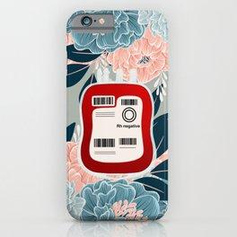 Floral O Negative Blood iPhone Case
