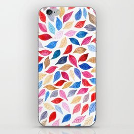 Colorful leaves pattern in watercolor iPhone Skin