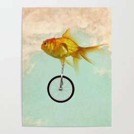 unicycle gold fish -2 Poster
