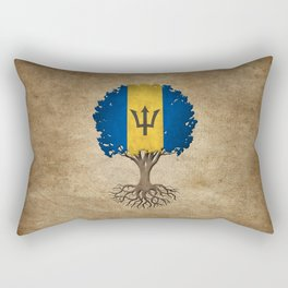 Vintage Tree of Life with Flag of Barbados Rectangular Pillow