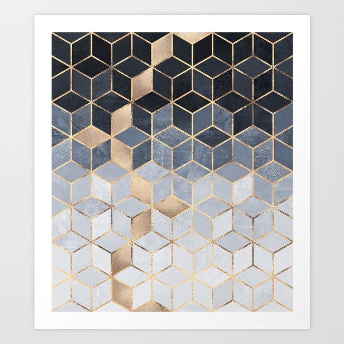 Soft Blue Gradient Cubes Kunstdrucke