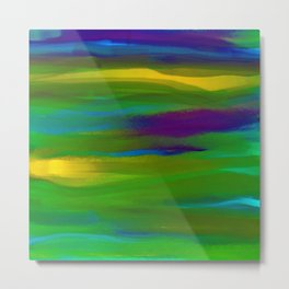 Green Mardi Gras Abstract Metal Print