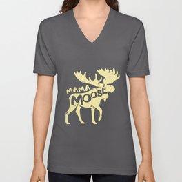 Moose Mama Mother Mom Deer Reindeer Elk Stag Unisex V-Neck
