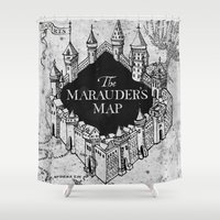 hufflepuff Shower Curtains featuring Marauders Map by bimorecreative