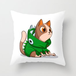 Cat dinosaur costume Throw Pillow
