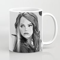 emma stone Mugs featuring Emma Stone by Vito Fabrizio Brugnola