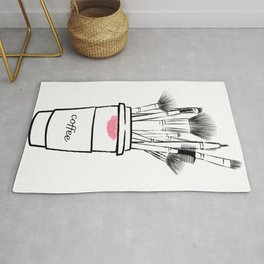 Makeup brush set and coffee cup fashion illustration Rug