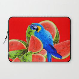 ABSTRACT RED WATERMELON & BLUE MACAW PARROT Laptop Sleeve