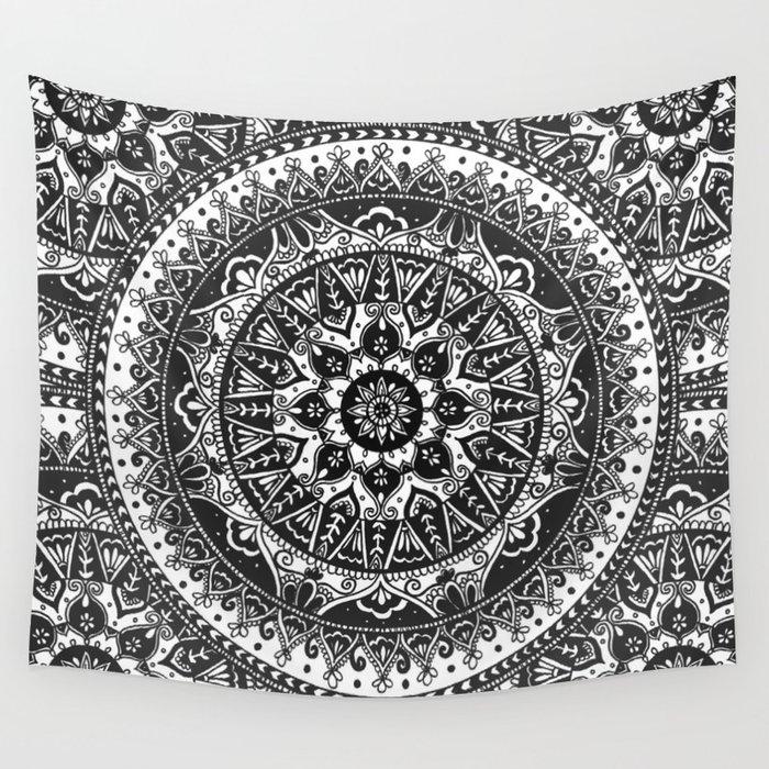 Black And White Mandala Pattern Wall Tapestry By Laurelmae