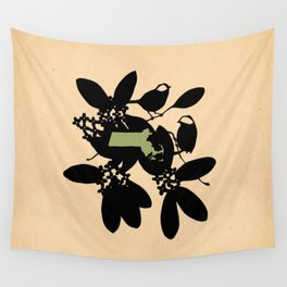 Massachusetts - State Papercut Print Wall Tapestry