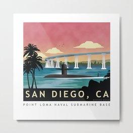 San Diego, CA - Retro Submarine Travel Poster Metal Print