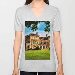 The Breakers Mansion Watercolor - Newport Mansion Series - Jéanpaul Ferro Unisex V-Neck