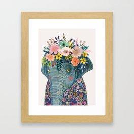 Elephant with flowers on head Framed Art Print