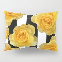 Yellow Roses on Black & White Stripes Pillow Sham