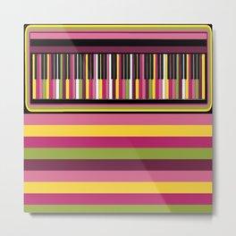 Colorful Retro Piano Keyboard with Gelato Stripes Artwork  Metal Print