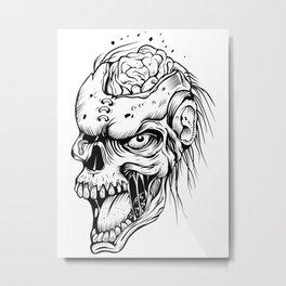 Zombie brains - tattoo, zombie, zombies, apocalypse, halloween, horror, monsters, dead, pop culture, Metal Print