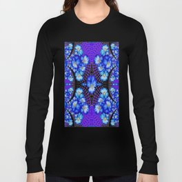 Blue-White Lace with  Purple Pansies Geometric Abstract Long Sleeve T-shirt