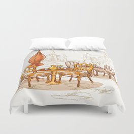 Street Cafe Sketch Duvet Cover