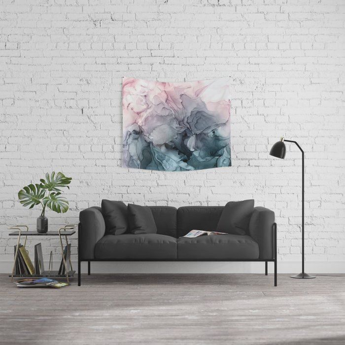 Blush and Paynes Gray Flowing Abstract Reflect Wall Tapestry