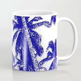 Palm Trees Design in Blue and White Coffee Mug