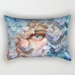 """Waiting for spring among blue flowers"" Rectangular Pillow"