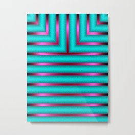 Art Deco Geometric Green and Pink Glowing Columns Metal Print
