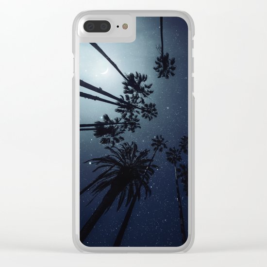 Palm Trees, Night Sky, Stars, Moon Clear iPhone Case