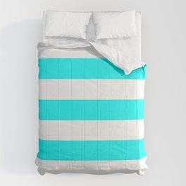 Horizontal Stripes - White and Aqua Cyan Comforters
