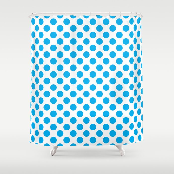 Blue Polka Dots Shower Curtain by coolfunawesometime | Society6