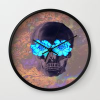 day of the dead Wall Clocks featuring Day of the Dead by Charlotte Anderson