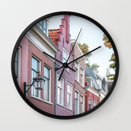 City Centre of Haarlem, the Netherlands || Colourful travel photography wall art Cityscape Buildings Summer Architecture Wall Clock