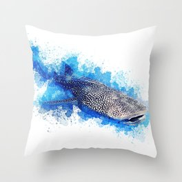 Whale Shark vibrant watercolor Throw Pillow