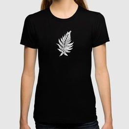 Inked Ferns – White Ink on Black T-shirt