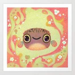 Smiling puffer Art Print
