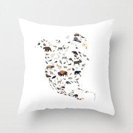 Wild North America map Throw Pillow